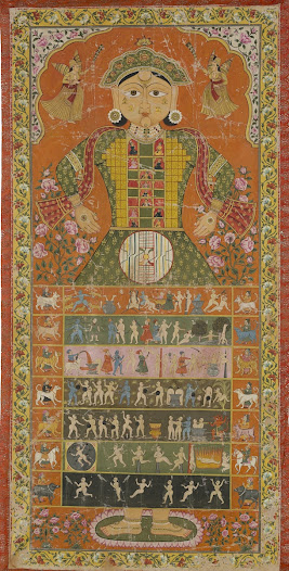 <b>The Cosmic Man</b>  <i>Lokapurusa</i>  The cosmic man is a popular theme in late Jain painting although its origins are evident from the fourteenth century. This example is a striking and beautiful painting, characteristic of the north Rajasthan region centred around Bikaner state, and is possibly a late 19th Century rendition of an earlier 17th Century version.