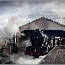 out of the steam by Sandy Crowe - Transportation Trains ( railway, station, steam train, train, museum, selective color, pwc )