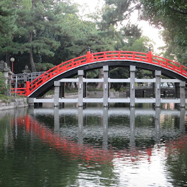 Bridge in Osaka Temple by Tatiana Isoo - Buildings & Architecture Bridges & Suspended Structures ( selective color, pwc )
