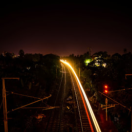 Light Trail by a Train by Soumin Saha - Abstract Light Painting ( trail, light trails, long exposure, trails, light )