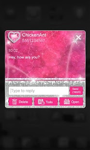 Bling Pink Heart Theme GO SMS - screenshot
