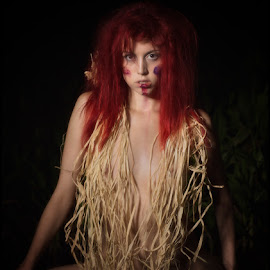 Cornfield Night Dance by Kelli Tinker - Nudes & Boudoir Artistic Nude ( water, model, cornfield, art, orchard, red head, mud, rafia, sunset, performing arts, full moon, night, dance,  )