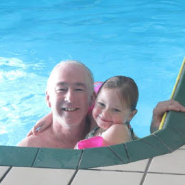 Grandpa and Kaylee having fun swimming, love this picture! by Dawn Price - People Family (  )