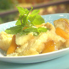 Peaches and Cream Bread Pudding with Amaretto Sauce