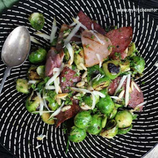 Grilled Brussel's Sprouts, Salami, and Smoked Mozzarella