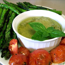 Grilled Tomatoes and Asparagus With Pesto Garnish