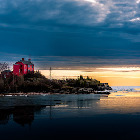 Marquette Harbor Lighthouse by Beaver Tripp - Buildings & Architecture Public & Historical ( michigan, ice, snow, lighthouse, lake superior, sunrise, marquette )