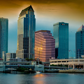 Tampa Downtown Skyline Evening view by Desai Photography - City,  Street & Park  Skylines ( tampa downtown skyline, tampa skyline, tampa downtown, tampa )