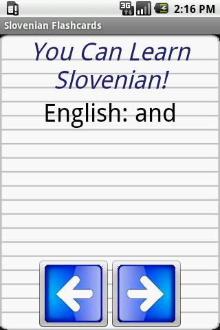 English Slovenian Flashcards