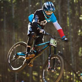 Loris Vergier by Simon Joubert - Sports & Fitness Cycling ( downhill, uci, under 23, pietermaritzburg, cascades, loris vergier, smon joubert, mountainbiking )
