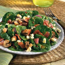 Spinach Salad With Italian Marinated Mushrooms & Gorgonzola