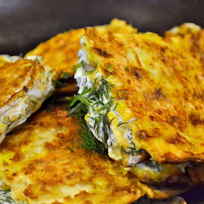 French Toast Matzo with Dill Cream Cheese
