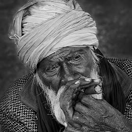 My Life !! by Vinod Chauhan - People Portraits of Men ( black and white, india, old man, man, portrait, smoke )