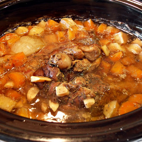 Slow Cooked Pulled Lamb with White Wine & Root Vegetables