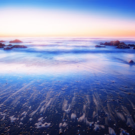 End of the Weekend by Stewart Baird - Landscapes Beaches ( paekakariki, hdr, blue, sunset, sea, long exposure, glow, landscape, spring, new zealand )