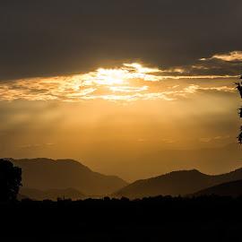 Smokey Morning by Tim Justtim - Landscapes Mountains & Hills ( smokey, silhouette, sunrays, sunrise, morning )