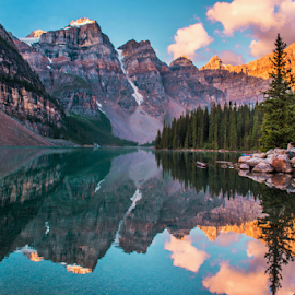 Moraine Lake by Joseph Law - Landscapes Waterscapes ( national park, rocky mountains, morning glory, trees, reflections, woods, rocks, banff, moraine lake )