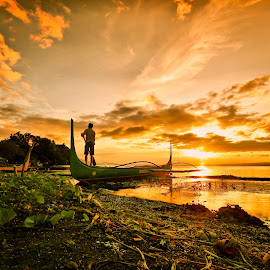 Waiting by Life-Framer  Fotografi - Landscapes Sunsets & Sunrises ( canon, sigma, waterscape, sunset, fisherman, landscape, balete, taal lake, HDR, Landscapes,  )