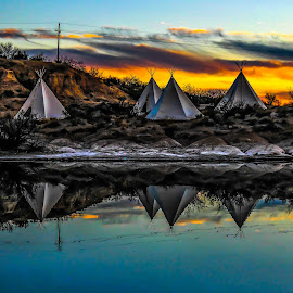 Campground by Paulo Peres - Buildings & Architecture Other Exteriors ( water, reflection, sunset, indian, tipis, , relax, tranquil, relaxing, tranquility )