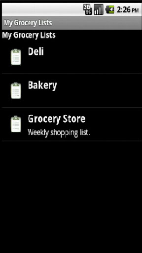 My Grocery Lists