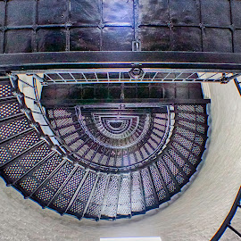 Looking Up The Spiral by Shawn Klawitter - Abstract Patterns ( abstract, interior, stairs, lighthouses, spiral )