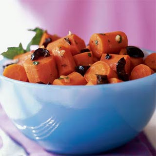 Spiced Braised Carrots with Olives and Mint
