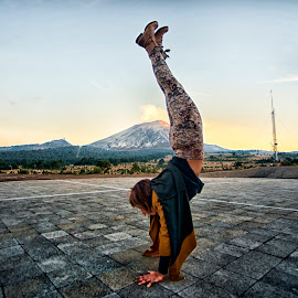 Yoga pose and volcano by Alfredo Garciaferro Macchia - Sports & Fitness Other Sports