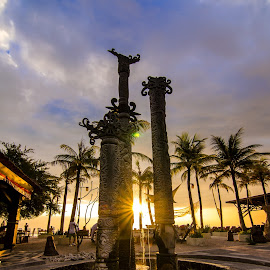 Through the sunlight by Chin Fei Ng - Buildings & Architecture Statues & Monuments ( monuments, sunset, trees, beach, sunlight )