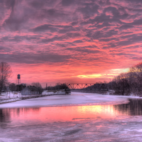 Canal Park sunrise by Blaine Stauffer - City,  Street & Park  City Parks ( water, park, sunrise, canal, , golden hour, sunset )