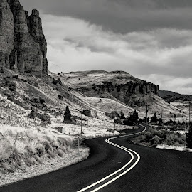 Lonely Roads by Gary Winterholler - Landscapes Travel ( black and white, b&w, landscape )