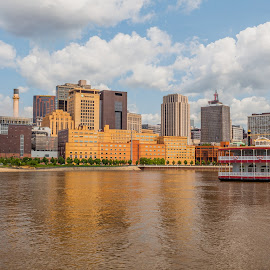 St Paul Riverboat by Chris Hurst - City,  Street & Park  Skylines ( clouds, riverboat, water, reflection, minnesota, sky, mississippi river, st paul, boat, river,  )