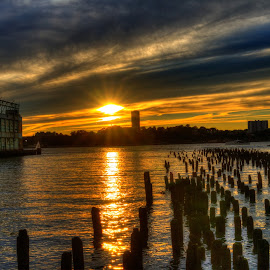 Sunset,Chelsea Piers NYC by Ken Buglione - Landscapes Sunsets & Sunrises
