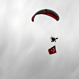 Turkish Flag Flying High by Tamsin Carlisle - News & Events Politics ( flying, moon, flag, sky, red, paraglider, bursa, white, star, turkey, crescent )