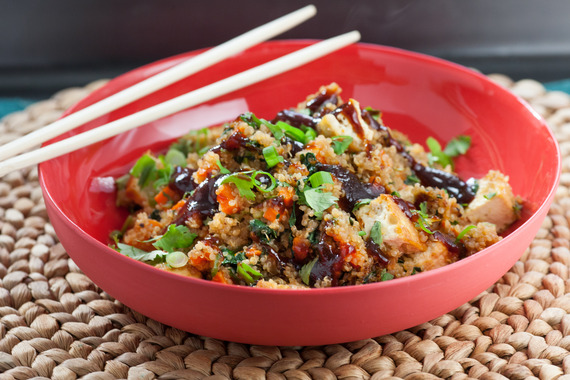 "Quinoa ""Fried Rice"" with Tofu & Choy Sum"
