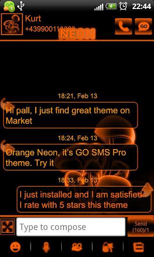 Orange Neon theme GO SMS Pro