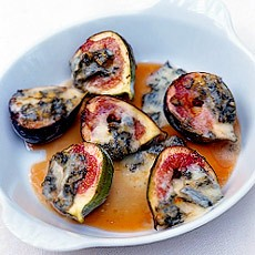 Roasted Figs with Gorgonzola and Honey-vinegar Sauce