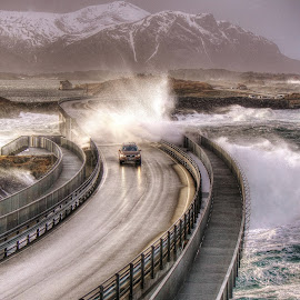 When you are in a hurry... by Jan Helge - Transportation Roads ( wave, volvo, atlantic road, storm, norway,  )