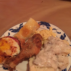 Eggs benedict, fried chicken, biscuits and gravy, double stuffed french toast