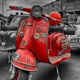 Red Vintage Lambretta by Huet Bartels - Transportation Motorcycles ( scotter, vintage, lambretta, mods, classic scooter, selective color, pwc )