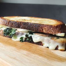 Gruyere Grilled Cheese with Garlic Kale Chips and Rosemary Mushrooms