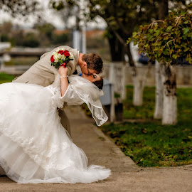 Love by Radu Adrian - Wedding Bride & Groom ( kiss, kissing, nature, park, wedding, bride, groom,  )