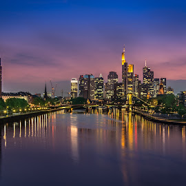 Frankfurt am Main after Sunset by Charles Day - City,  Street & Park  Skylines ( frankfurt, skyline, mainriver, frankfurtammain, sunset, mainufer, germany, mainfluss, dusk, mainhattan, main )