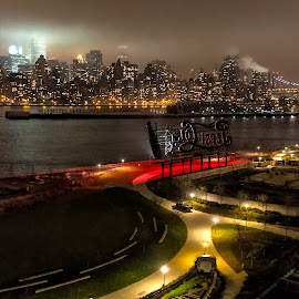 Urban Life on Both Sides by Karen Celella - City,  Street & Park  Skylines ( licity, urban, skyline, city life, east, cityscape, nyc, urban landscape, river, nightscape, Urban, City, Lifestyle )