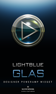 Poweramp Widget Lightblue Glas - screenshot