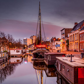 Kanal in Groningen by Anita  Christine - Landscapes Travel ( water, 2014, waterscape, kanal, cityscape, nederlands, landscape, netherlands, herbst, autumn, holland, gronigen, city kanal, river,  )