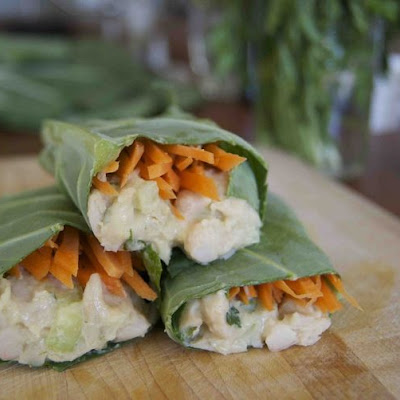 Collard Green Wrap with White Bean Salad