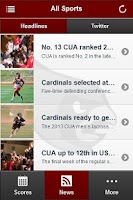 Screenshot of CUA Cardinals Front Row