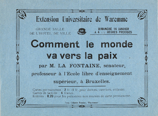 Announcement of a lecture on peace given by Henri La Fontaine