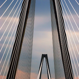 Bridge into Charleston by Jackie Stoner - Buildings & Architecture Bridges & Suspended Structures ( at sunset, charleston, suspension, bridge, south carolina )