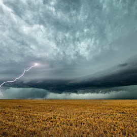 Supercell lightning by Rusty Nelson - Landscapes Weather ( hail, lightning, thunderstorm, farmland, weather, supercell )